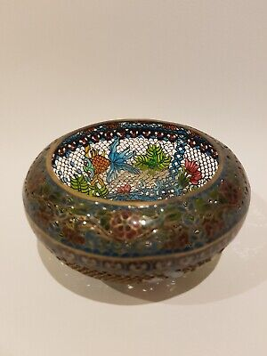 Antique Vintage Oriental Style Metal Fruit Bowl Designed with Koi Fish & Flowers