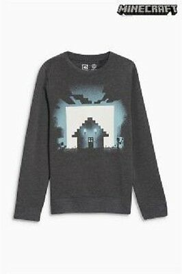 BNWT Next Boys Minecraft Print Glow In Dark Sweater Jumper Top 8-9-10 Years