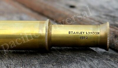 "Stanley London Marine Old Antique Telescope 6"" Maritime Nautical Brass Spyglass"