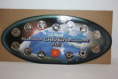 Canada 2000 25c Millennium Commemorative Uncirculated Coin Set of 12+Medallion