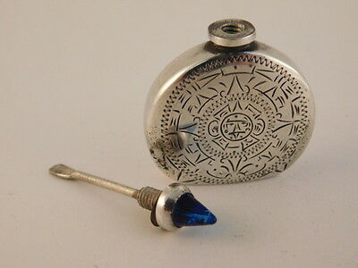 Sterling Silver Perfume Bottle Blue Sapphire Top Signed Anr Mexico Carved Chased