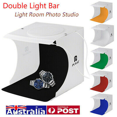 Photo Studio 20CM LED Lighting Tent Kit Portable Folding Light Box 4pcs Backdrop