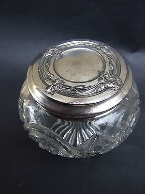 Antique Art Nouveau Crystal Glass Silver Lid  Trinket  Container Vintage 1890's