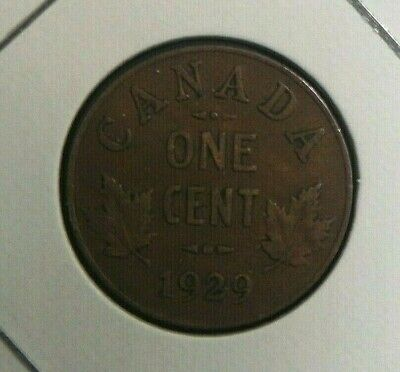 1929 Low 9 Circulated Canadian Canada Penny 1 One Cent Maple Leafs George V