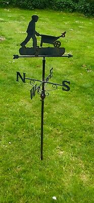 Folk Art Cut Metal Old Weather Vane, Man with a Wheelbarrow