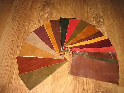 20 X Pieces Mixed Coloured Leather Scraps / Remnants /Off Cuts/ Repairs