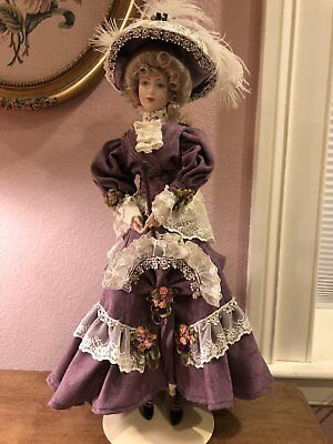 Franklin Heirloom Doll - Violette RARE - Umbrella Hat Purple Gibson Girl NEW 295