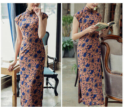 c9af0dc4f Chinese Vintage Cheongsam Cap Sleeves Medium Long Qipao Chiffon Dress  RongRong