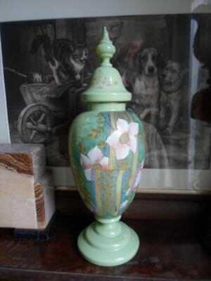 Large Victorian Gilded Hand-Painted Floral Lidded Milk Glass Vase