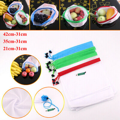 9 12 15 Reusable Produce Bags Black Rope Mesh Vegetable Fruit Toys Storage Pouch