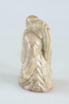 Chinese Vintage Hand Carved Longevity Figure Soapstone Stamp