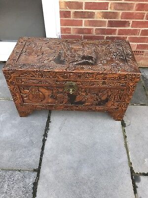 Beautiful Chinese Carved Camphor Wood Trunk , Chest , Box