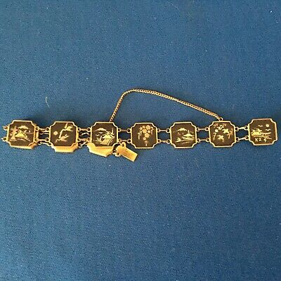 Antique Art Deco Japanese Shakudo metal bracelet inland with gold and silver