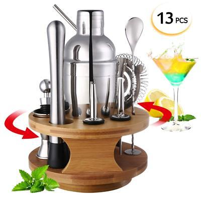 Cocktail Shaker Mixer Set with Rotatable Bamboo Base Display Stand, Stainless