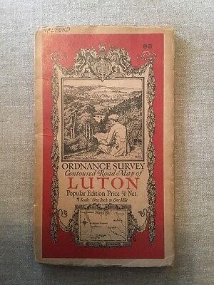 1928 Ordnance Survey One Inch Contoured Road Cloth Map Of Luton - Sheet 95