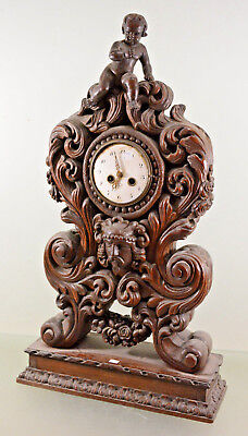 RARE! XXL Wood carved Black forest design Satyr putti 19thc French mantle clock
