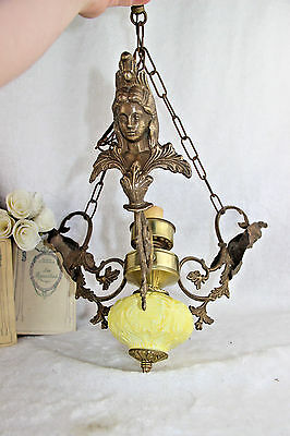 Antique French Faience porcelain brass Caryatid lady chandelier pendant 1930's