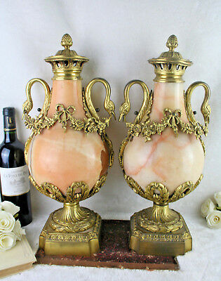 HUGE PAIR XL french onyx marble Swan louis XVI bronze ornament urns vases 1920