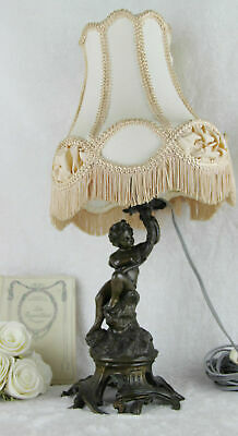 French putti cherub Spelter bronze table desk lamp 1960's with shade