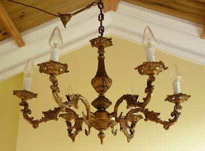 Antique Vintage 1940s Gilt Brass French Rococo Chandelier 6 lamp ceiling light