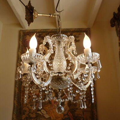 Vintage Crystal Chandelier 5 lamp Glass ceiling light French Chic