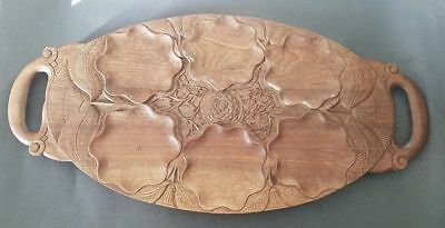 Beautiful Carved Arts & Crafts Wooden Oyster Tray