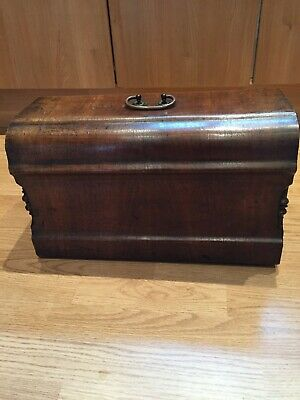 Antique/vintage solid wood sewing machine cover detail side corners brass handle