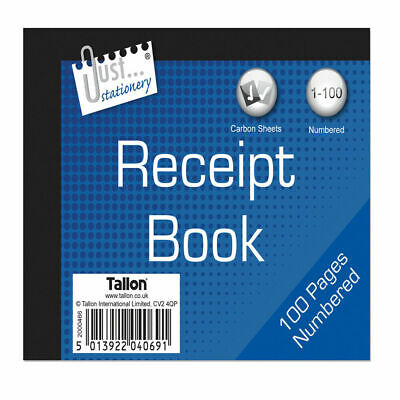 Receipt book new with carbon sheets  80 numbered pages