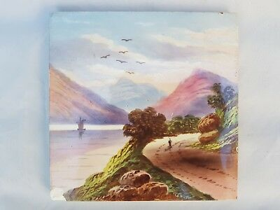 Scenic Mountain And Lake Handpainted Period Tile, Boat, Birds, Landscape