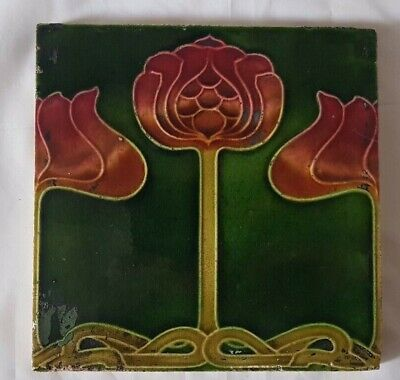 period english FLORAL DESIGN MAJOLICA ART NOUVEAU tile colourful