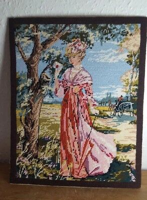 LARGE Wool stitchwork TAPESTRY Picture of a lady  COMPLETED Ready to Frame