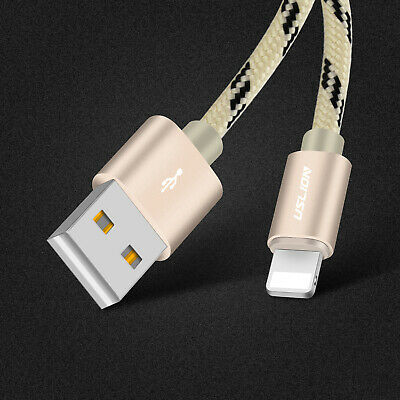 USB Braided Charger Cable For iPhone 5 6 7 8 Plus XS Max XR Long Data Sync iPad