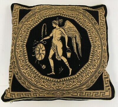 Pair Of Roman Greek Tapeatry Style Throw Pillows Cushions Black Gold