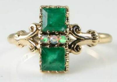 Dainty 9Ct 9K Gold Colombian Emerald & Aus Opal Art Deco Ins Ring Free Resize