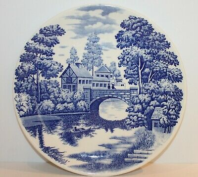 Blue White Willow Plate Display Blue Stone Ridge Ironstone 26cm Japan Vintage