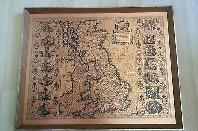 Vintage Framed Copper Map Of Great Britain Saxon Heptarchy Vguc
