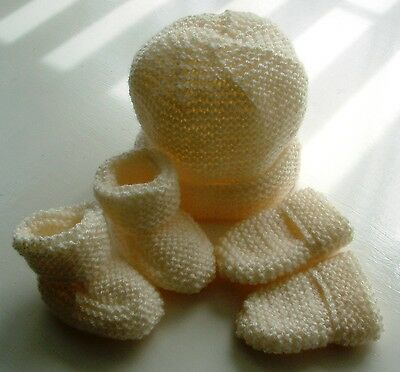 Baby Hand Knitted Hat, Mittens, Bootees Set, Cream, 0-3 Months, New
