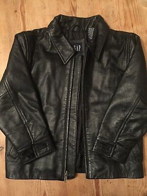 GAP Vintage Boys Black Leather Jacket from 2002 Size XS EXCELLENT CONDITION