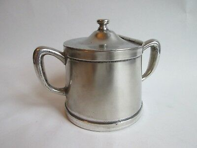 COVERED SUGAR BOWL! Vintage WEAR BRITE silverplate: hotel restaurant ware LOVELY