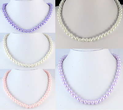 Single Strand 8 mm White, Cream, Lilac, Purple or Pink Glass Pearl Necklace