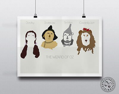 WIZARD OF OZ - Minimalist Movie Poster Wall Art Posteritty Dorothy  Scarecrow