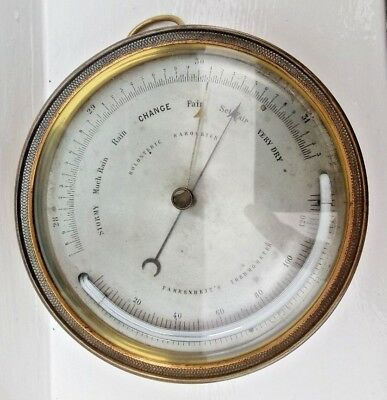 Superb French Naudet PHBN marine holosteric barometer wi curved thermometer