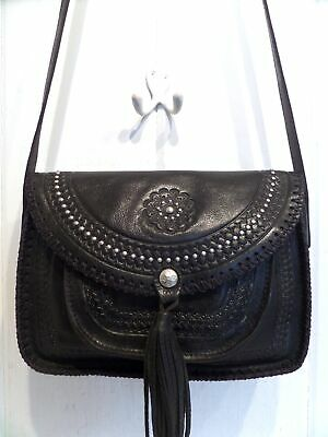 Patricia Nash Black Silver Studded Tooled Leather Beaumont Shoulder Crossbody