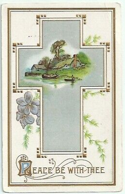 Peace Be With You Cross Flowers Fishing Scene Embossed Antique Postcard