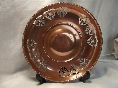 Vintage Arts and Crafts Copper Bowl with Pierced Decoration