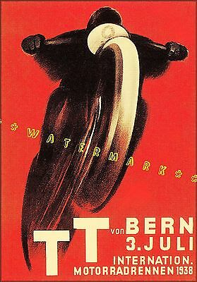 TT Motorcycle Races 1938 Bern Switzerland Vintage Poster Print Wall Art