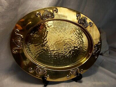 Antique Vintage English Arts & Crafts Planished Brass Oval Tray