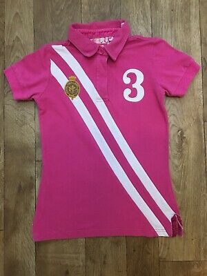 Girls Joules Pink Polo T-Shirt Size 11-12yrs. Short Sleeved. Collar. Casual A6