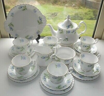Richmond Bone China Blue Poppy Teapot Cups Saucers Plates Milk Sugar 22 Pieces