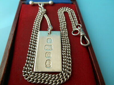 SOLID SILVER 18inch DOUBLE ALBERT / NECK CHAIN & INGOT FOB NOT SCRAP 37.2gm